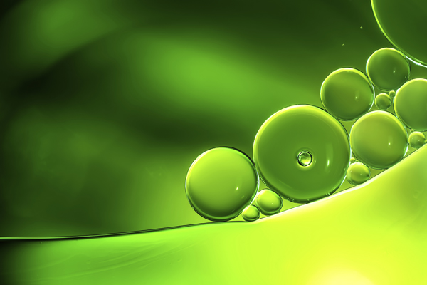 Abstract background, green oil droplets on water surface. Beautiful macro abstraction